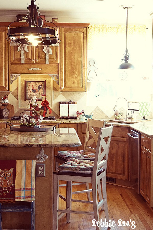 Country French style rustic Christmas kitchen decor