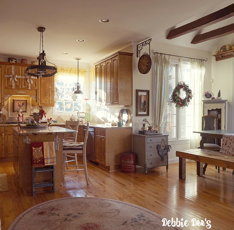 Country french Christmas kitchen