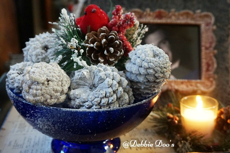 Winter pinecone bowl display
