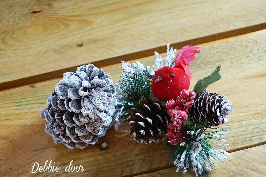 snowy pinecones and cardinal