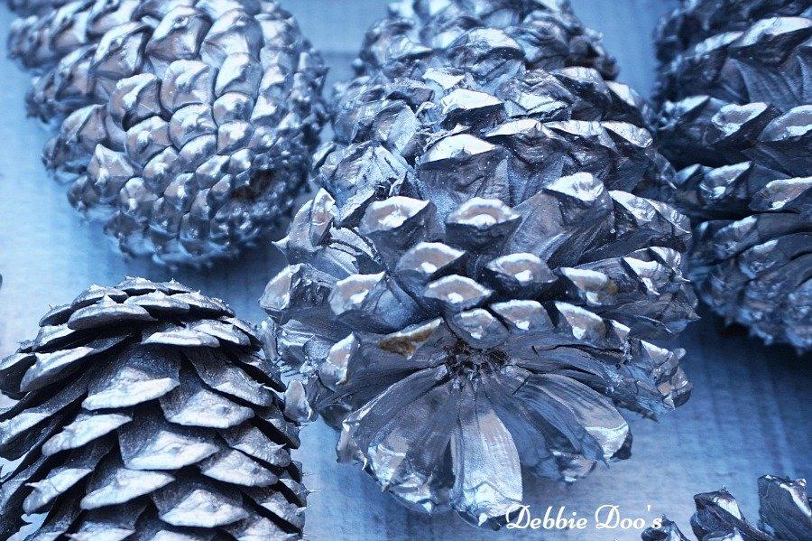 spray painted winter pinecones