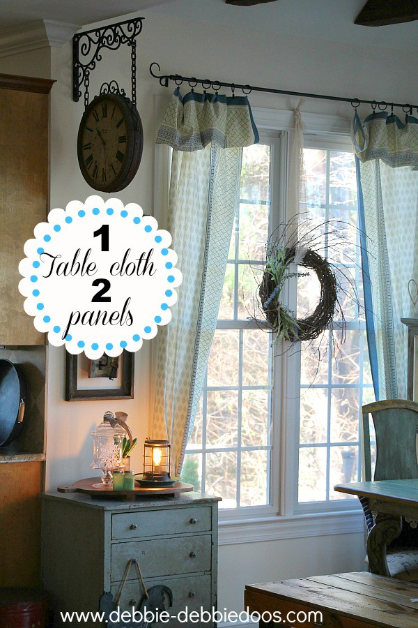 Cool How to make two curtain panels from one table cloth Winter kitchen decorating ideas