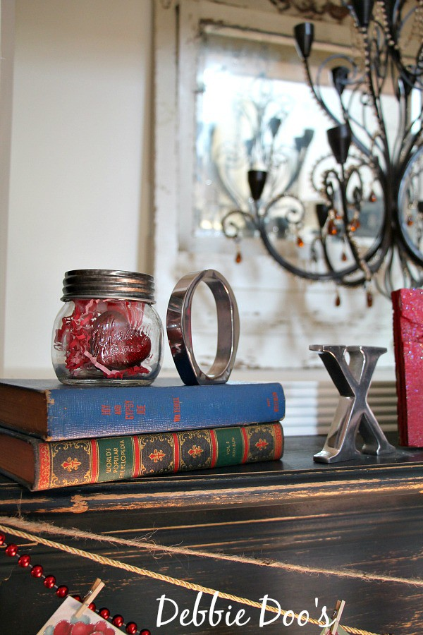 Mini mason jar filled with Valentine goodies