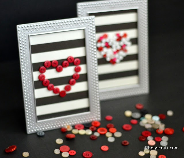 Pretty Valentine button art with scrap book paper and 1.00 frames