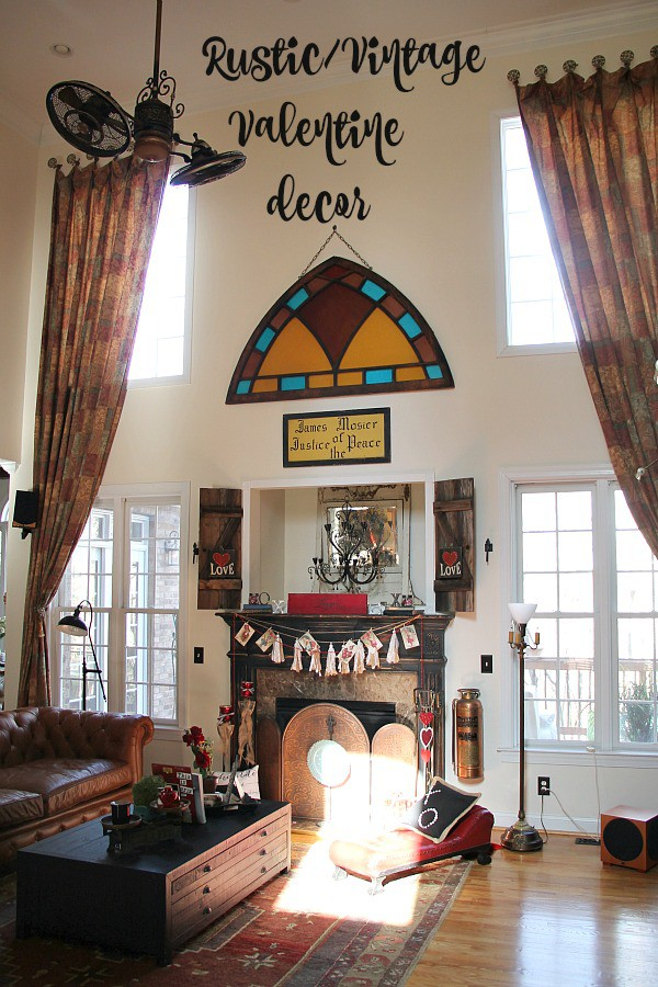 Rustic, vintage Valentine decorating ideas in the Family room