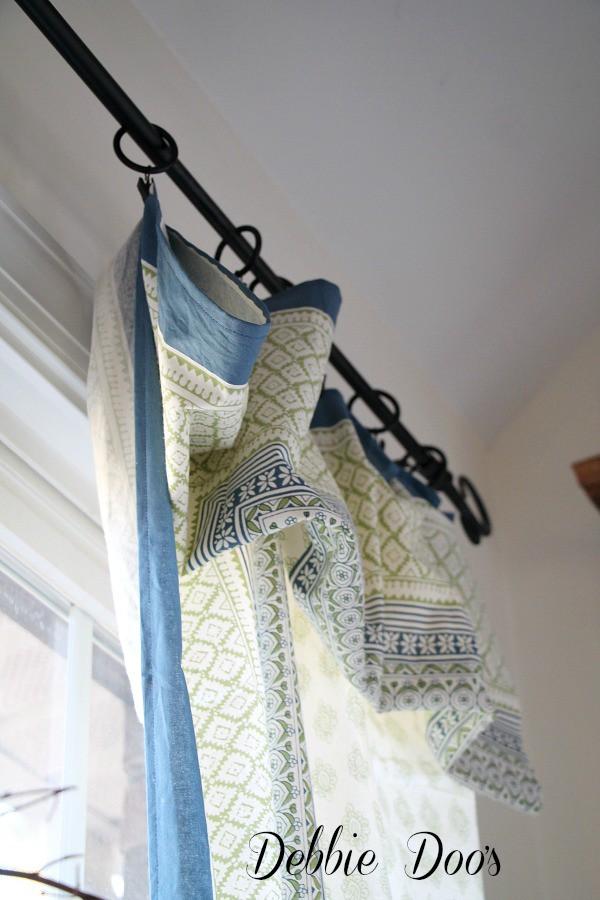 Tablecloth curtain idea