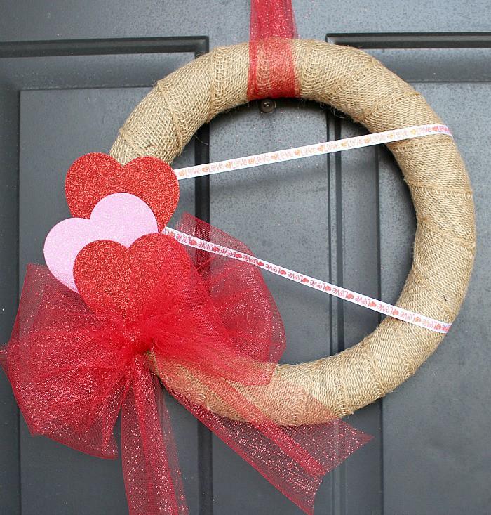 Burlap valentine wreath for front door