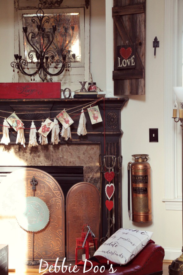 Vintage Valentine mantel decorating ideas