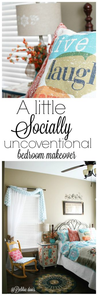 A little socially unconventional bedroom makever for under $50.00 including curtains, pillows and recovering a chair.