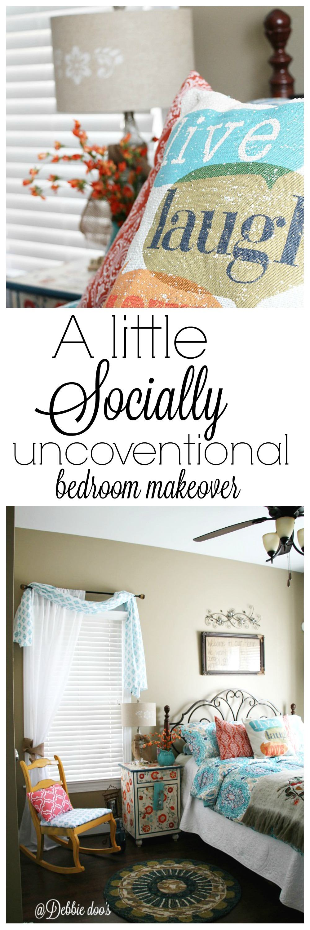 Perfect A little socially unconventional bedroom makever for under including curtains pillows and recovering a