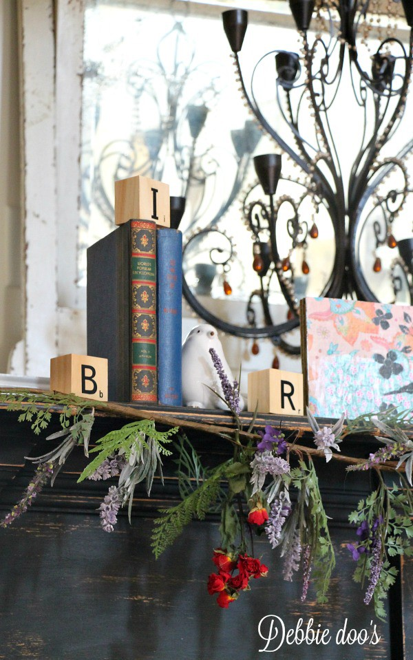 Bird mantel and spring decorating
