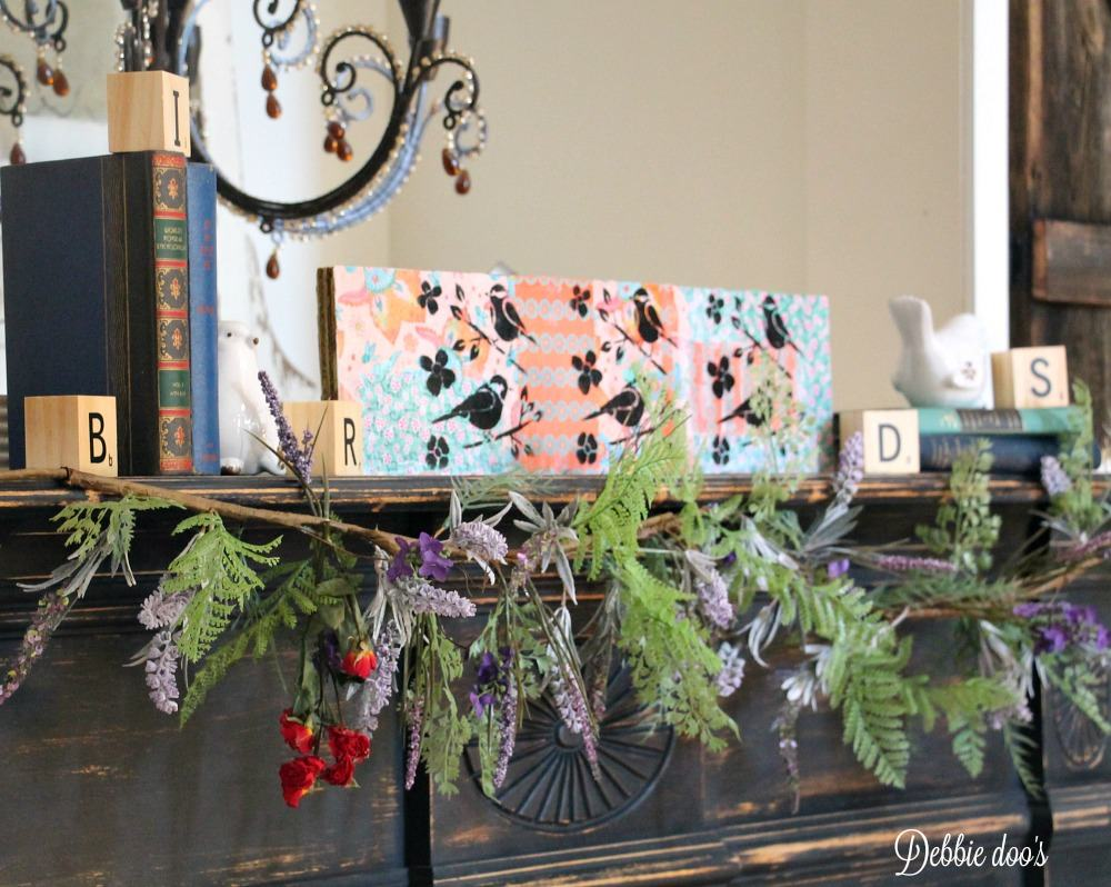 Birds and wild flower mantel decorating ideas