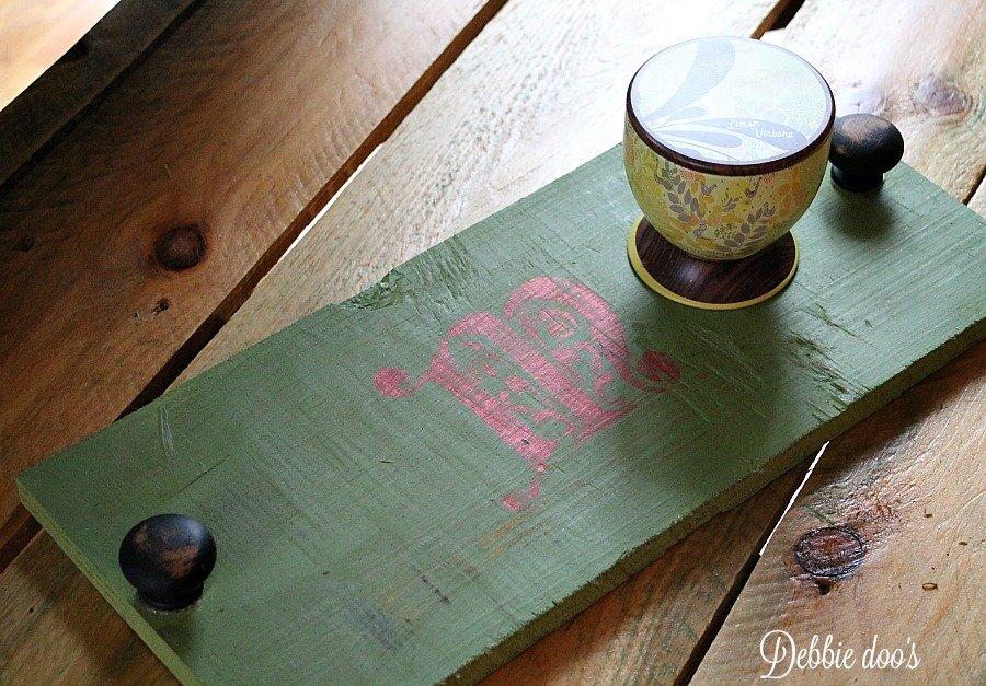 DIY rustic monogrammed tray