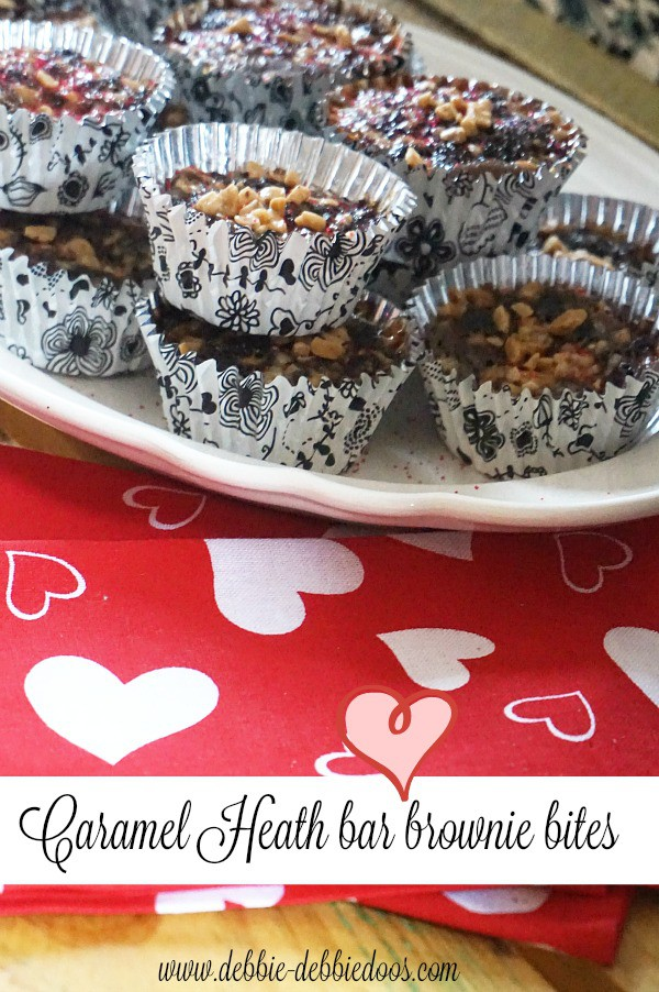 Decadent molt heath bar brownie bites with caramel topping