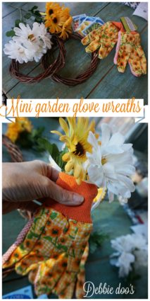 Mini dollar tree garden glove grapevine wreaths