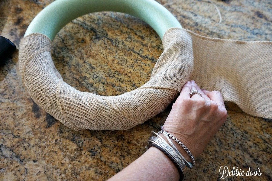 Wrapping burlap around a foam wreath
