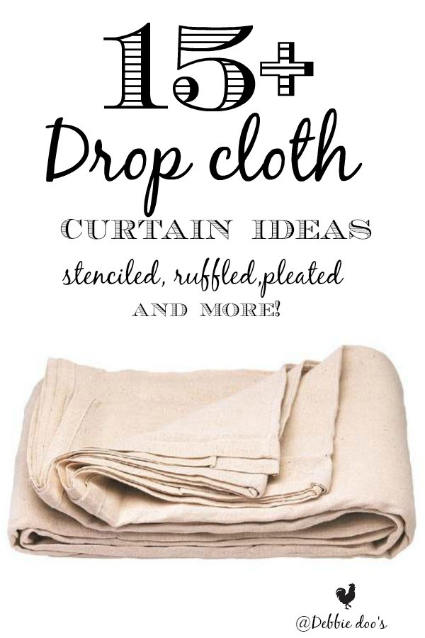 15drop cloth curtain ideas stenciled ruffled pleated and more