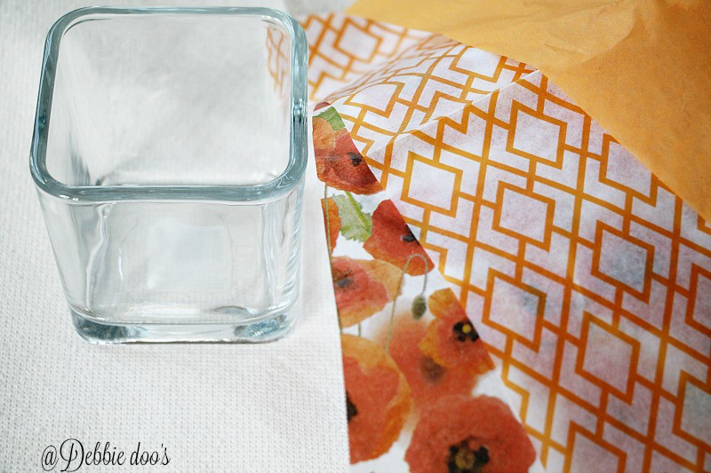 Dollar tree votives and mod podge tissue paper