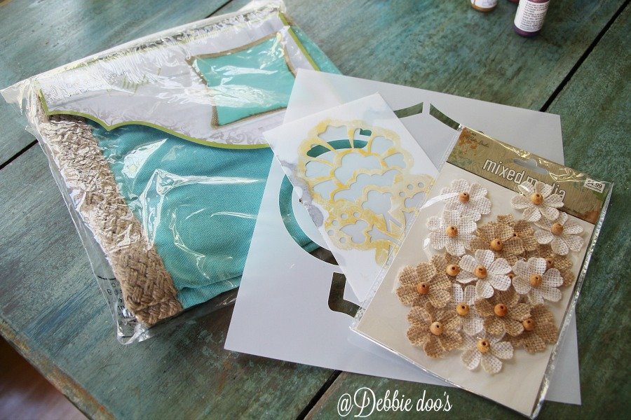 No sew pillow form from hobby lobby and stencils