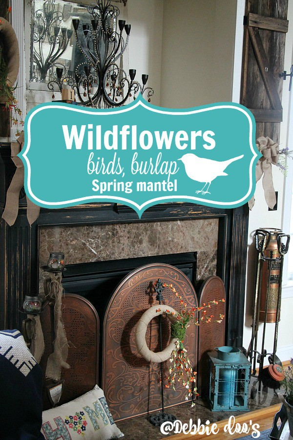 Spring-mantel-with-wildflowers-birds-and-burlap