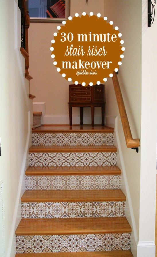Stair riser makeover