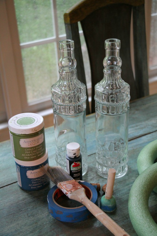 Clear decorative dollar tree bottles