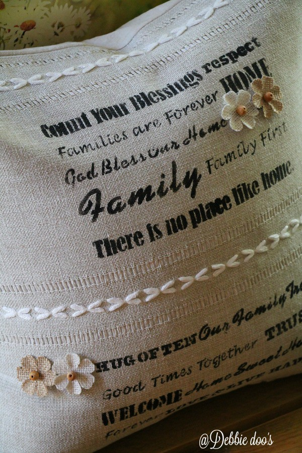 DIY burlap house warming pillow gift idea