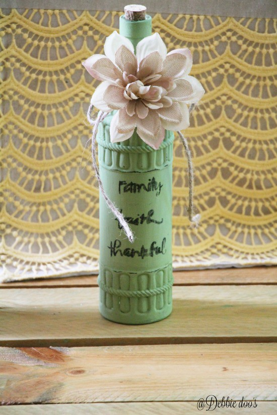 Dollar tree bottle painted and stenciled