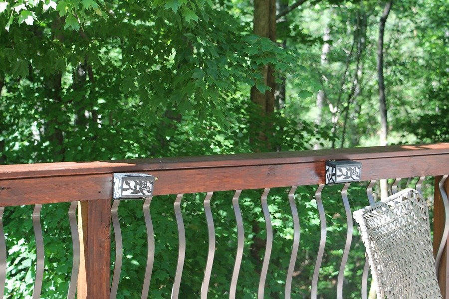 Gel stained deck railings