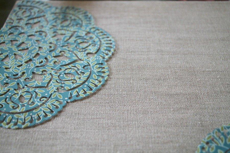Mod podge on linen cavas