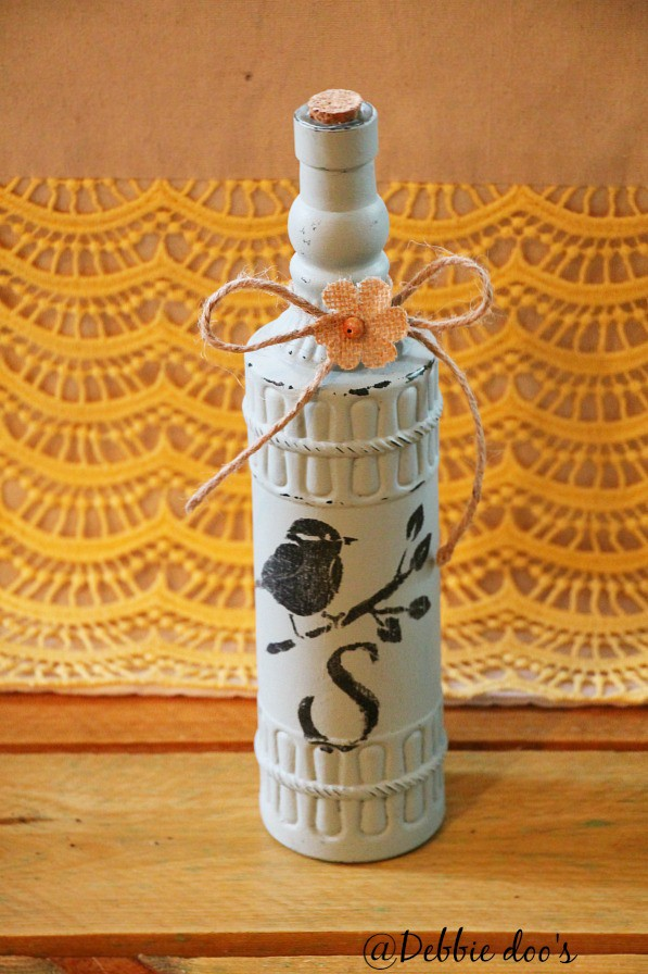 Monogrammed dollar tree bottle painted with chalky paint