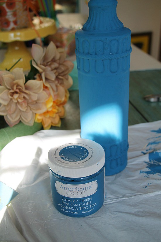 Painting a dollar tree bottle with chalky paint