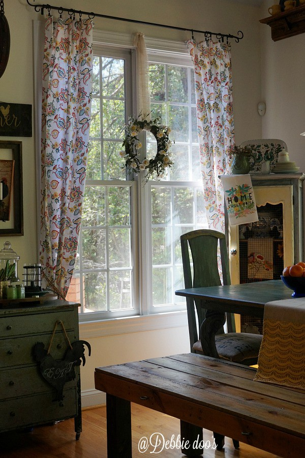 Pretty paisley tablecloth window treatments