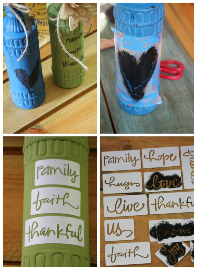 Step by step crafting with dollar tree bottles, painting and stenciling