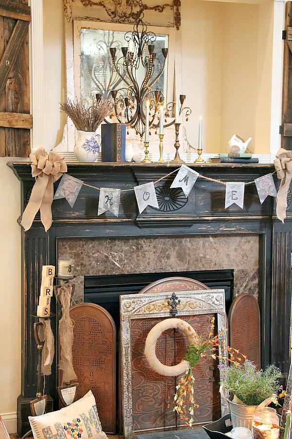 Rustic, eclectic vintage mantel decor