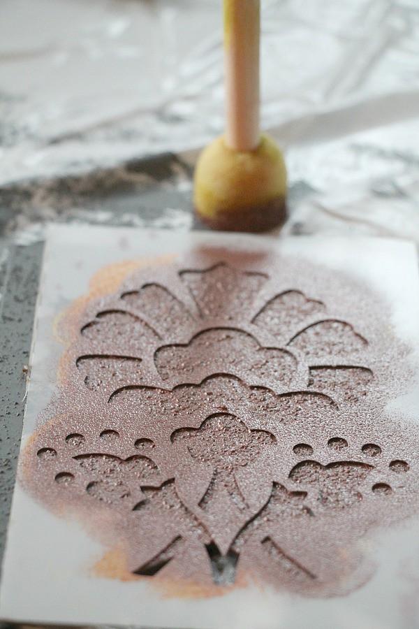 Stenciling on concrete paint