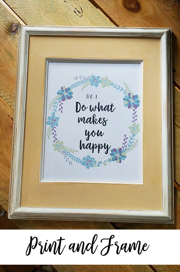 Print and frame free Happy floral printable