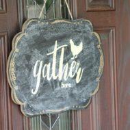 Gather here stencil and fall decor ideas