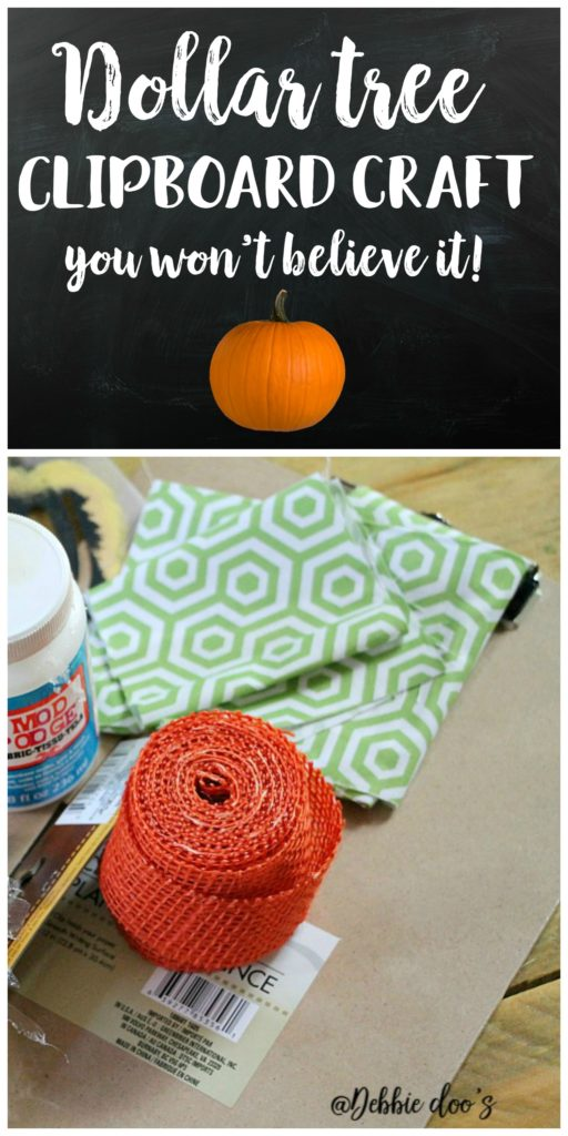 Dollar tree clipboard craft idea with Debbiedoo's stencil