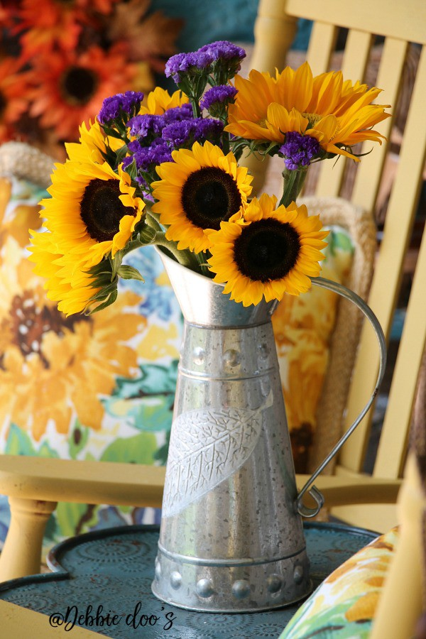 Fresh sunflowers on the porch