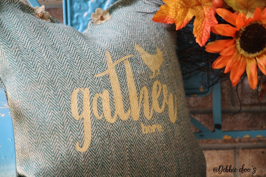 Gather here fall burlap pillow idea with Debbiedoo's custom stencil