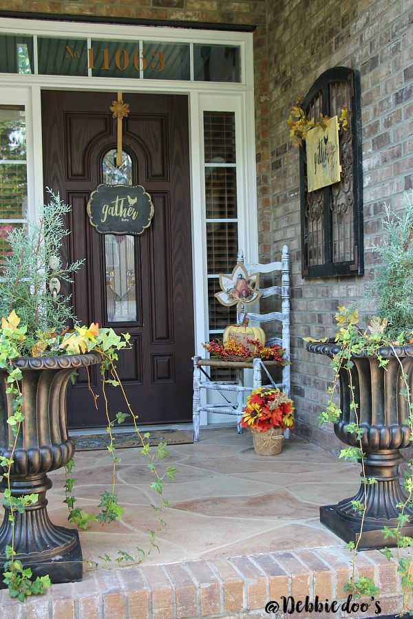 Gather here porch decorating ideas with Debbiedoo's stencil