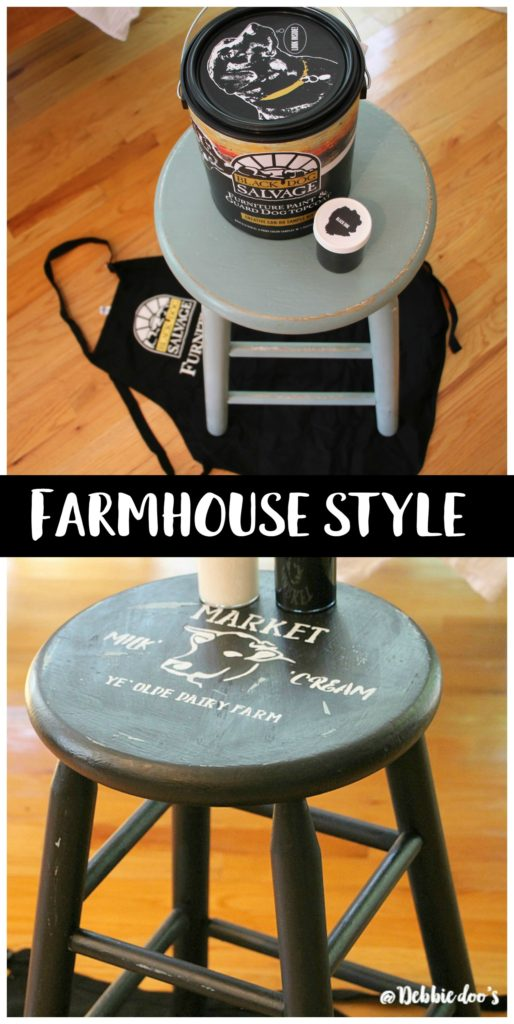 How to makeover a stool to farmhouse style stencil by Debbiedoo's