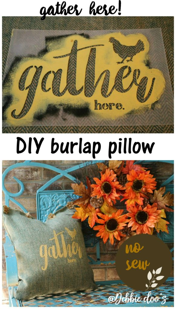 No sew burlap stenciled pillow by Debbiedoo's