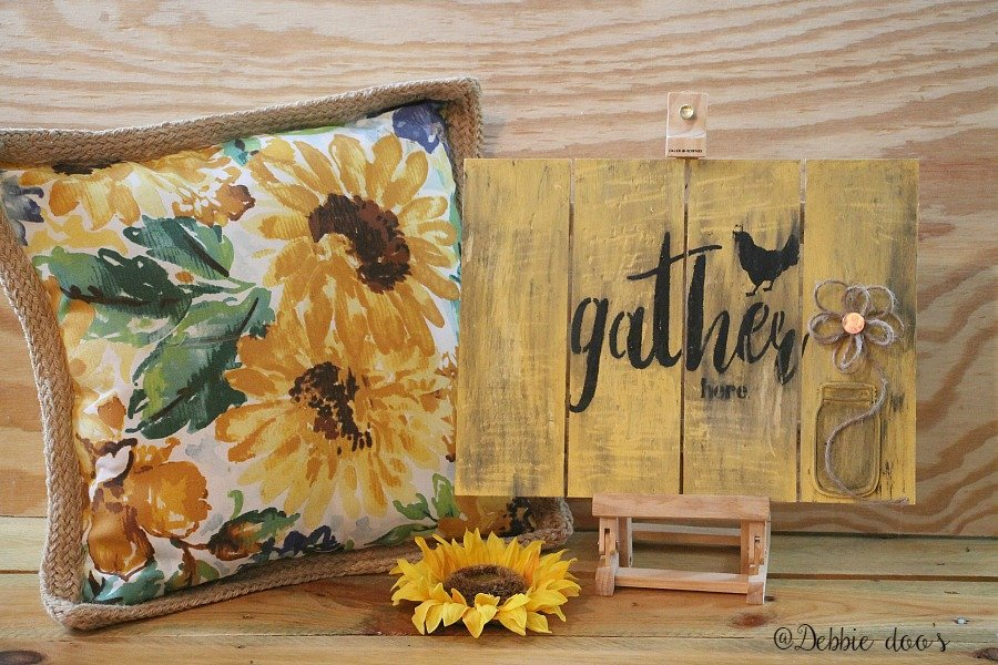 gather here pallet sign with a custom made stencil by Debbiedoo's