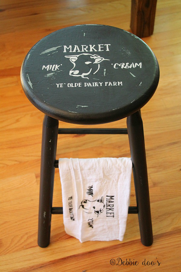 how to make over a thrift store stool to farmhouse style
