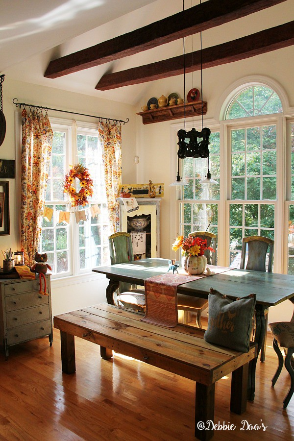 Country rustic fall decorating with florals and texture