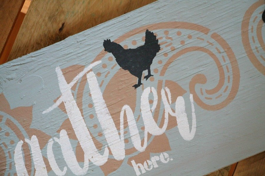 Debbiedoo's gather here stencil on wood sign