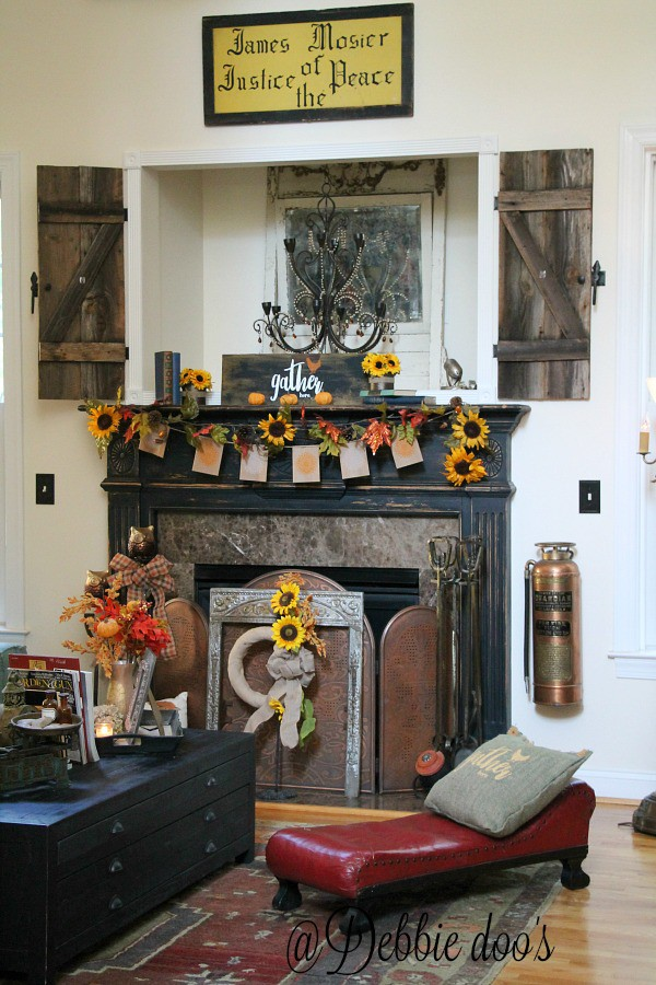 Gather here fall mantel