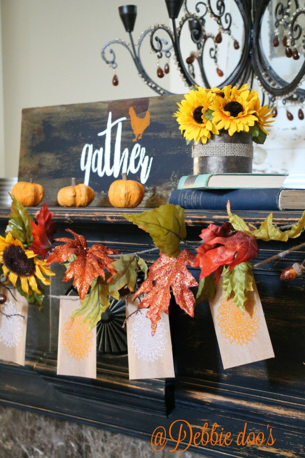 Gather here rustic fall decor in the family room with Debbiedoo's stencil line